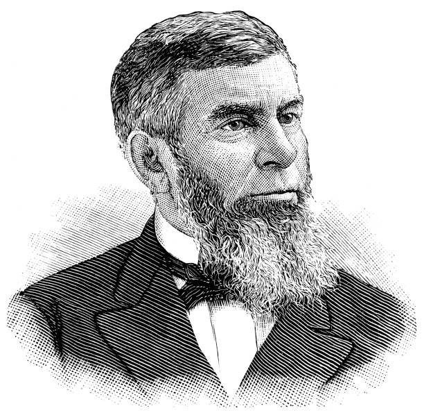 Morrison Waite - Chief Justice Of The Supreme Court Engraving from 1886 showing Morrison Waite who was the Chief Justice on the United States Supreme Court. chief justice stock illustrations