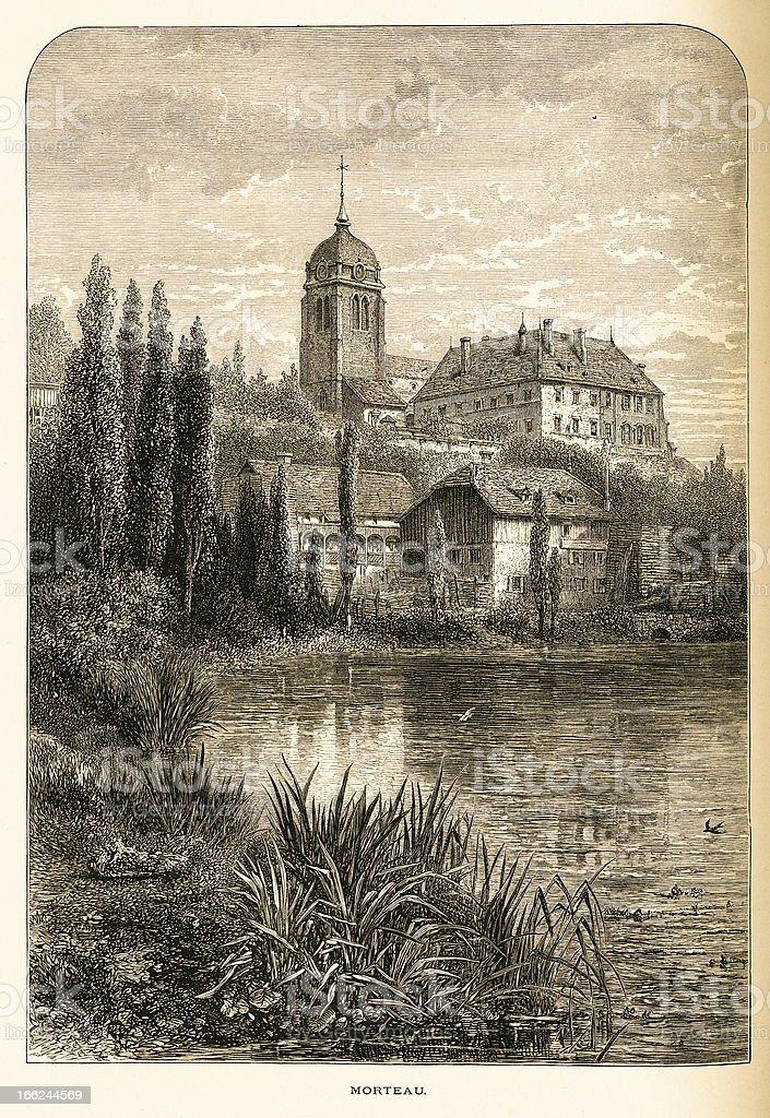 Morteau, France (antique wood engraving) royalty-free stock vector art