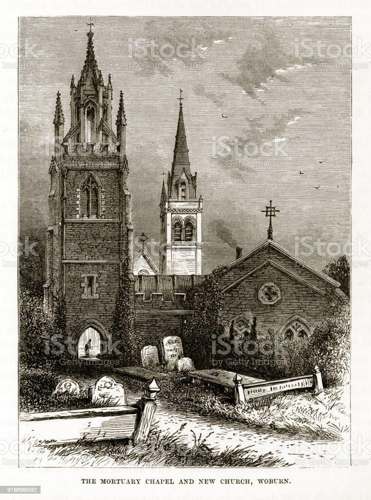 Mortuary Chapel and Church, Woburn, England Victorian Engraving, Circa 1840 vector art illustration
