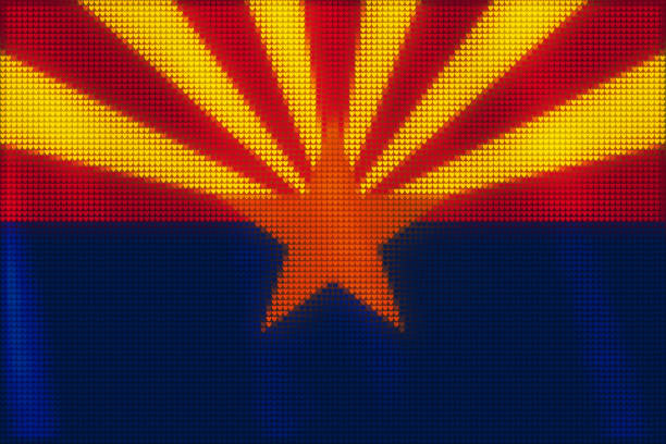 Mosaic heart tiles painting of Arizona flag blown in the wind, love state patriotic concept. vector art illustration