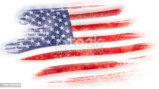 istock Mosaic heart tiles painting of USA flag blown in the wind isolated on white background. 1081492290