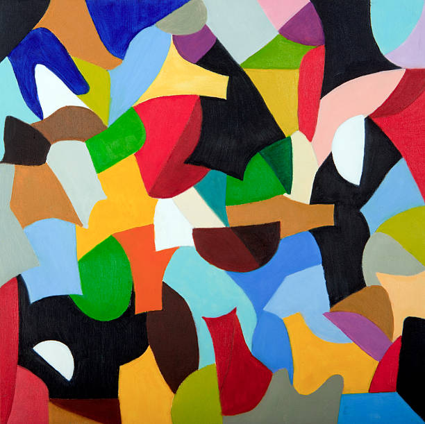 Mosaic of colors combined in geometric shapes (oil painting)  tempera painting stock illustrations