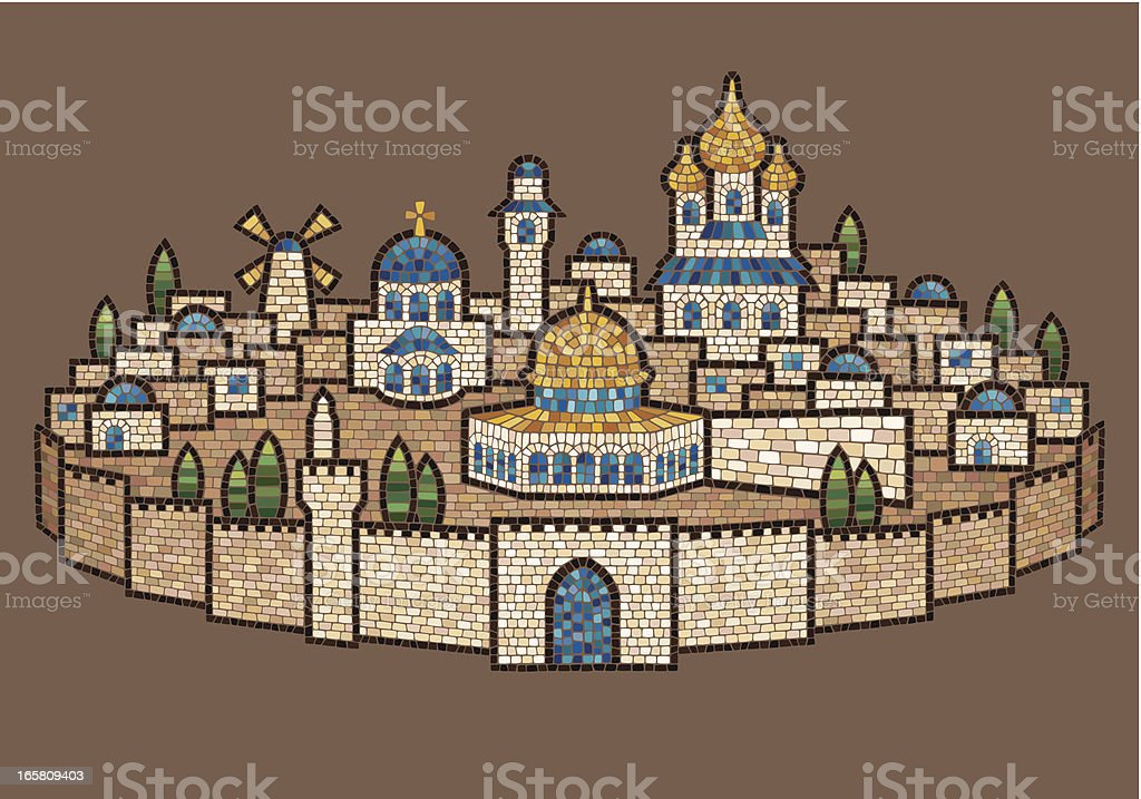 Mosaic of Jerusalem vector art illustration
