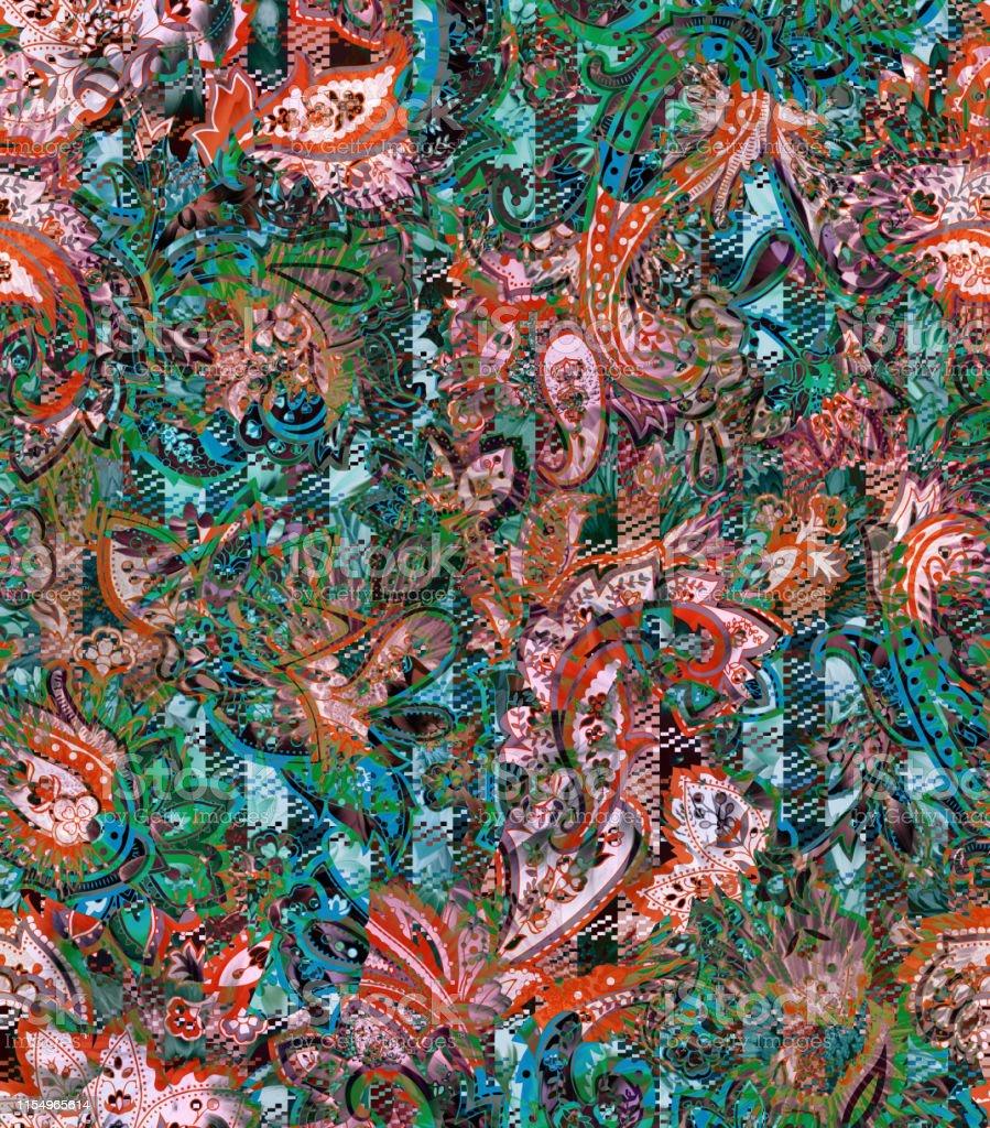 Carreaux De Mosaïque Pixel Check Avec Ornement De Paisley