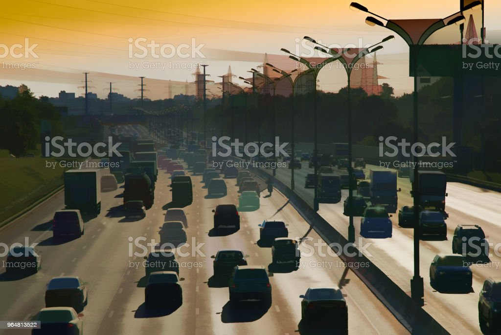 Moscow traffic jam illustration background royalty-free moscow traffic jam illustration background stock vector art & more images of backdrop - artificial scene