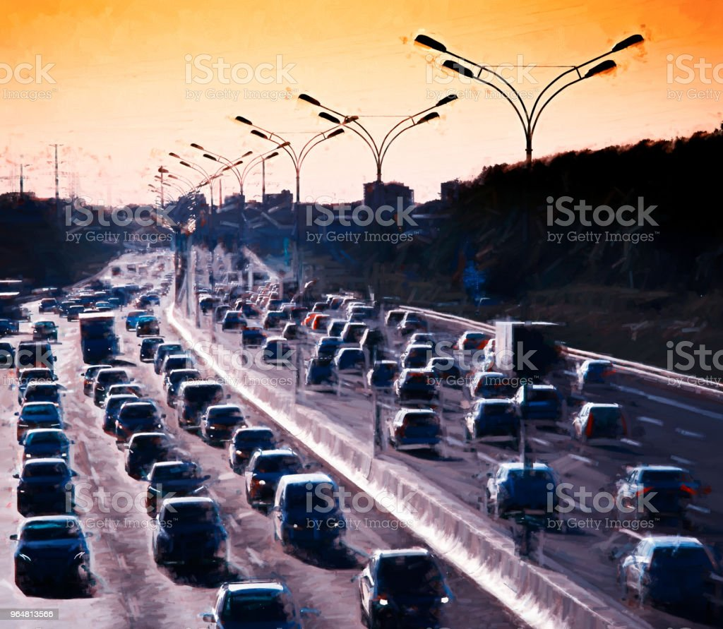 Moscow traffic jam painting illustration background royalty-free moscow traffic jam painting illustration background stock vector art & more images of backdrop - artificial scene