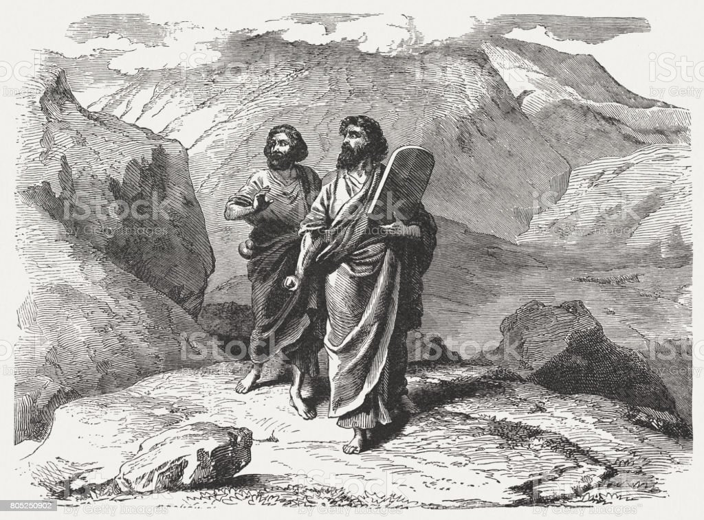 Moses and Joshua come back from Mount Sinai (Exodus 32) vector art illustration