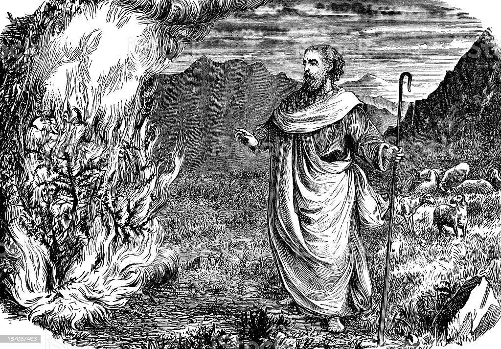 Moses And The Burning Bush vector art illustration