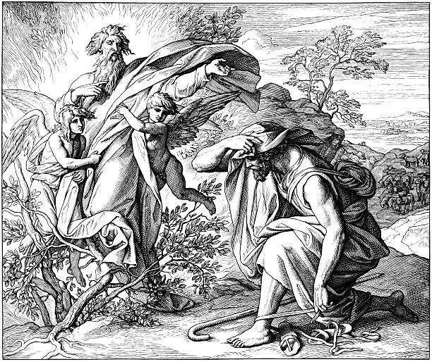 moses and the burning bush - old man praying picture pictures stock illustrations, clip art, cartoons, & icons