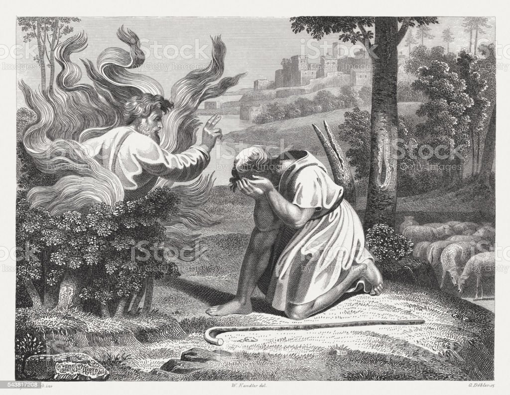 moses and the burning bush published in 1841 stock vector art