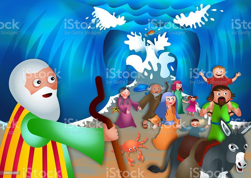 Moïse et la mer Rouge - Illustration vectorielle