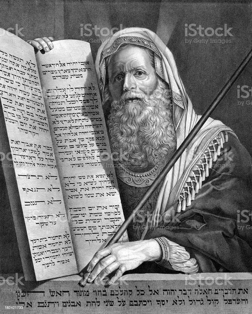 Moses and the Ten Commandments vector art illustration