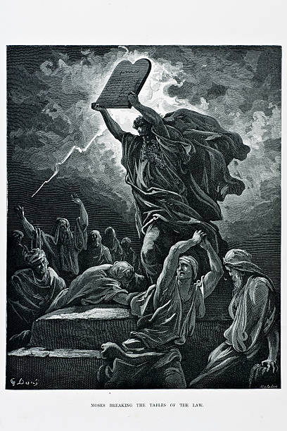 moses breaking tables of the law - old man goes pictures stock illustrations, clip art, cartoons, & icons