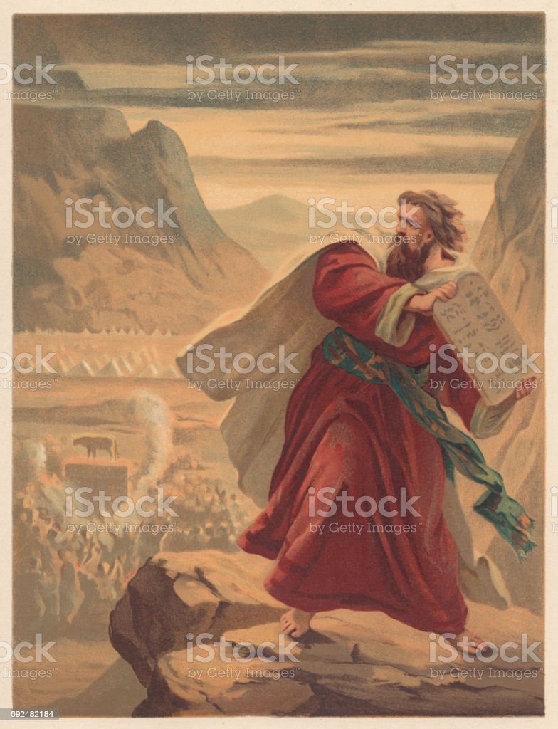 Moses Breaks the Tablets of Law, chromolithograph, published in 1886 vector art illustration