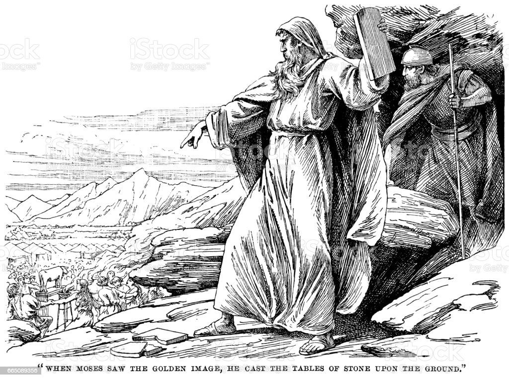 Moses casting the tablets of stone on the ground vector art illustration
