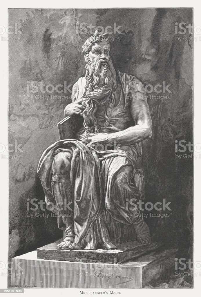 Moses, created (c.1513/15) by Michelangelo, San Pietro in Vincoli, Rome vector art illustration