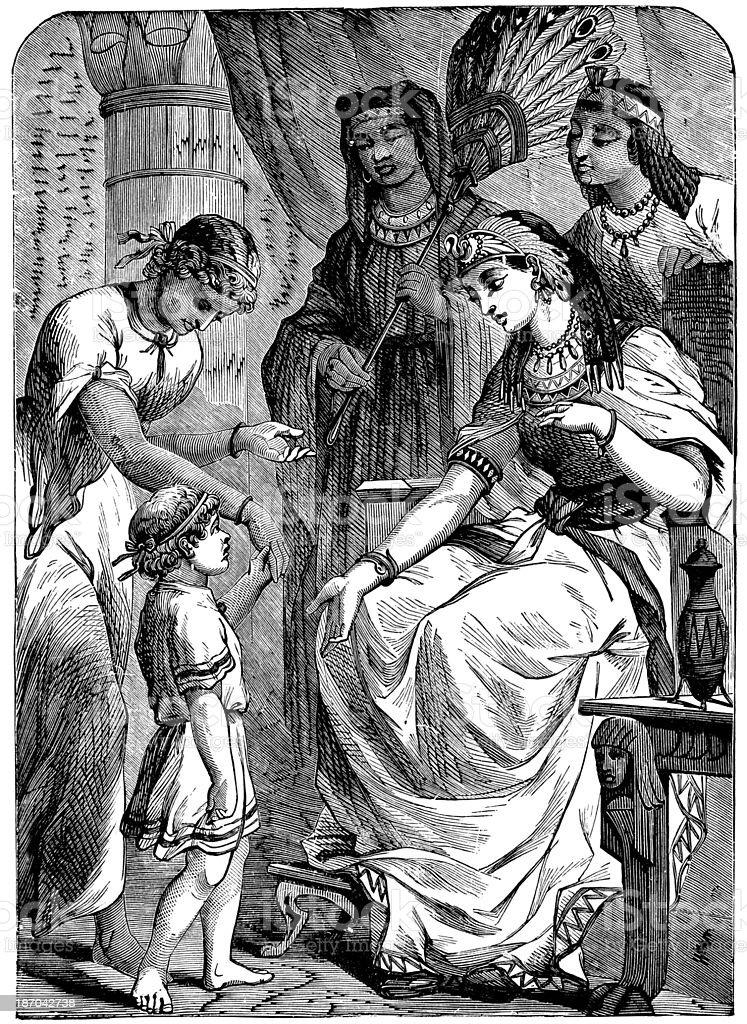 Moses In Front Of Pharoah's Daughter royalty-free stock vector art