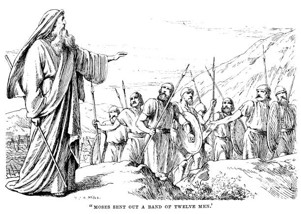 """Moses sending out a band of twelve men (Victorian engraving) When Moses and the Israelites left Sinai and reached the border of Canaan, Moses sent twelve men to spy out the land ahead. From """"Sunday Reading for the Young"""", published in 1895 by Wells Gardner, Darton & Co, London. With articles and poems by various authors and illustrations by various artists. moses religious figure stock illustrations"""