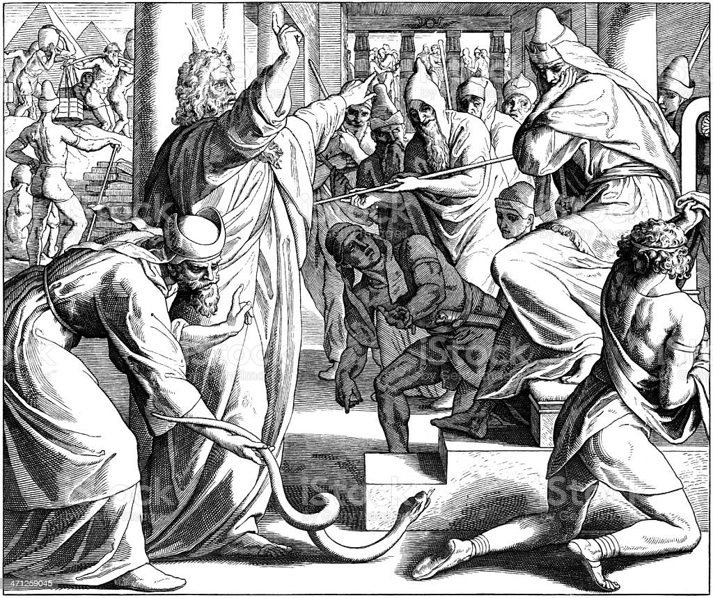 Moses' Staff Becomes Snake vector art illustration