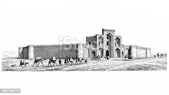 Mosque and caravan of camels from Isfahan to Shiraz ,engraving illustration from 1883