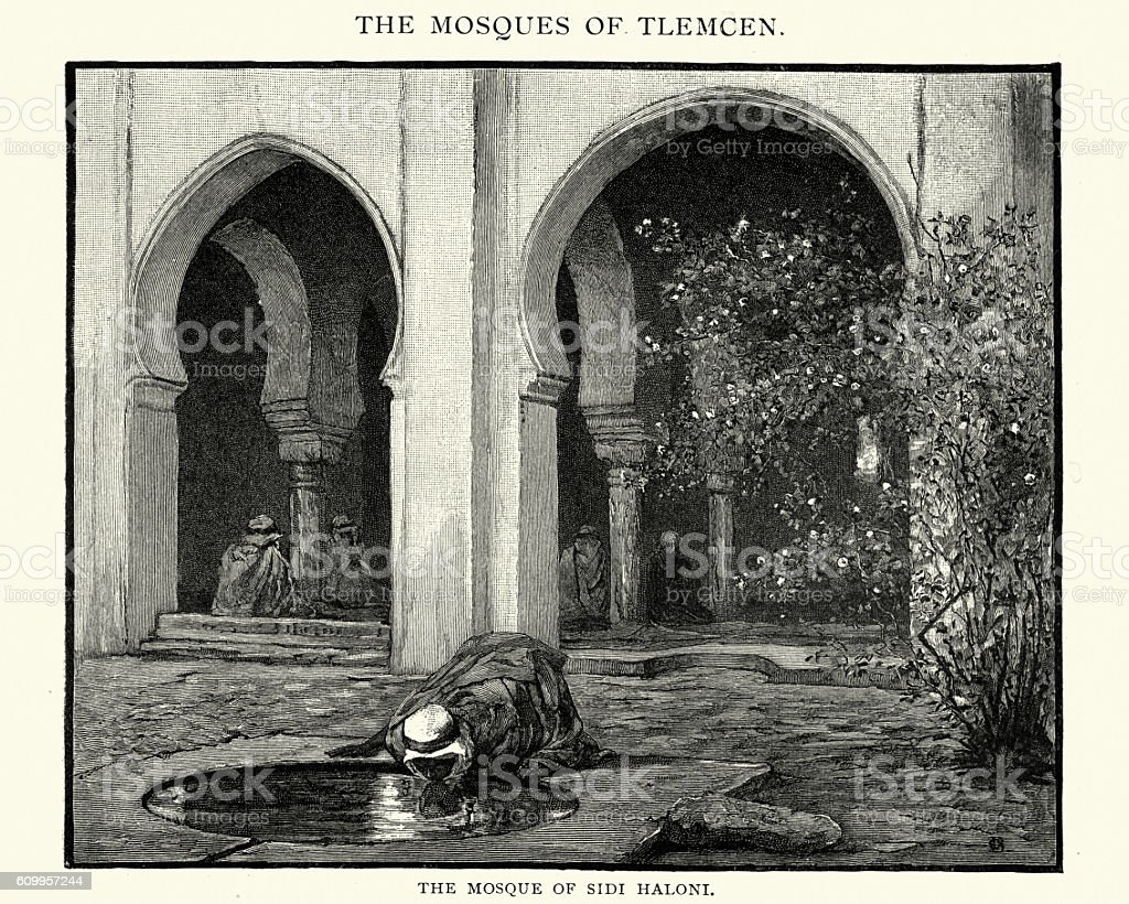 Mosque of Sidi Haloni, 1892 vector art illustration