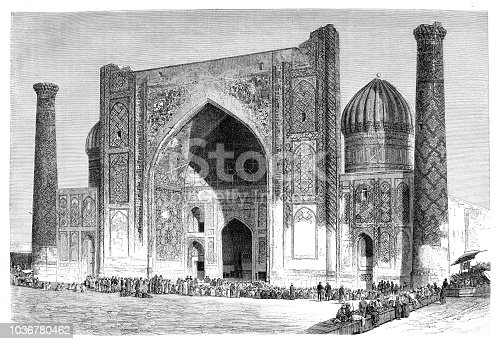 istock Mosque Sher-Dor Madrasah in Uzbekistan 1036780462