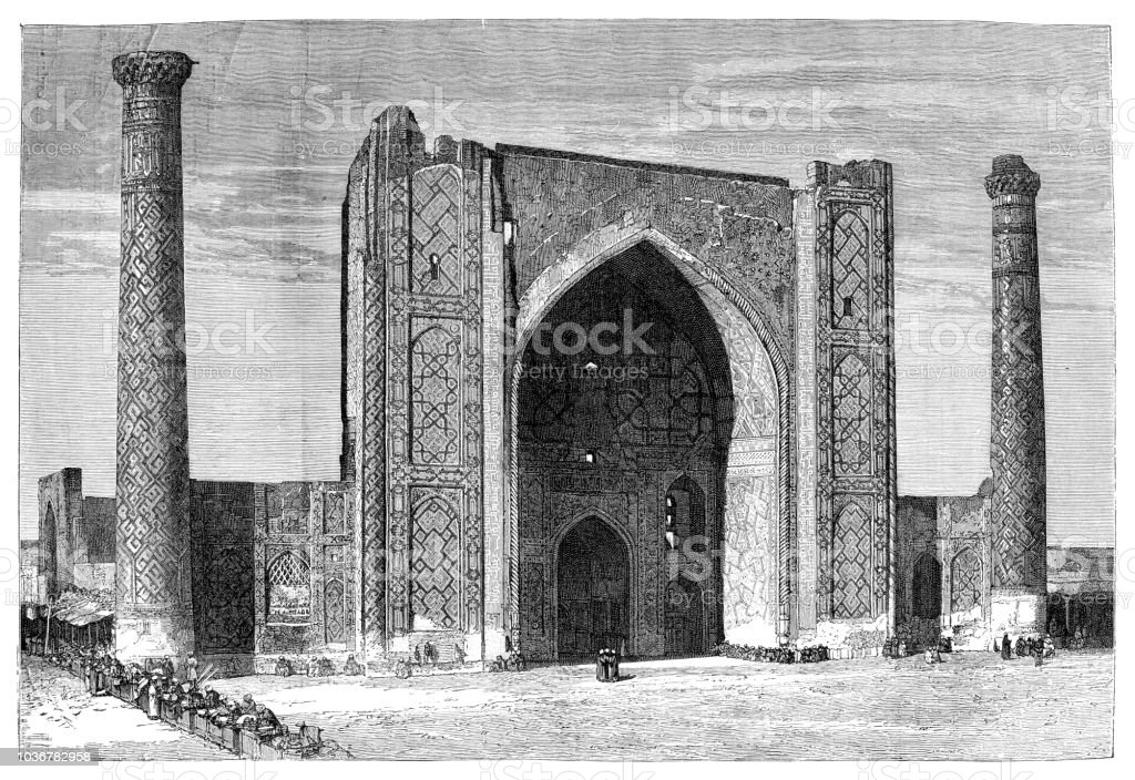 Mosque Ulugh Beg Madrasah in Uzbekistan vector art illustration