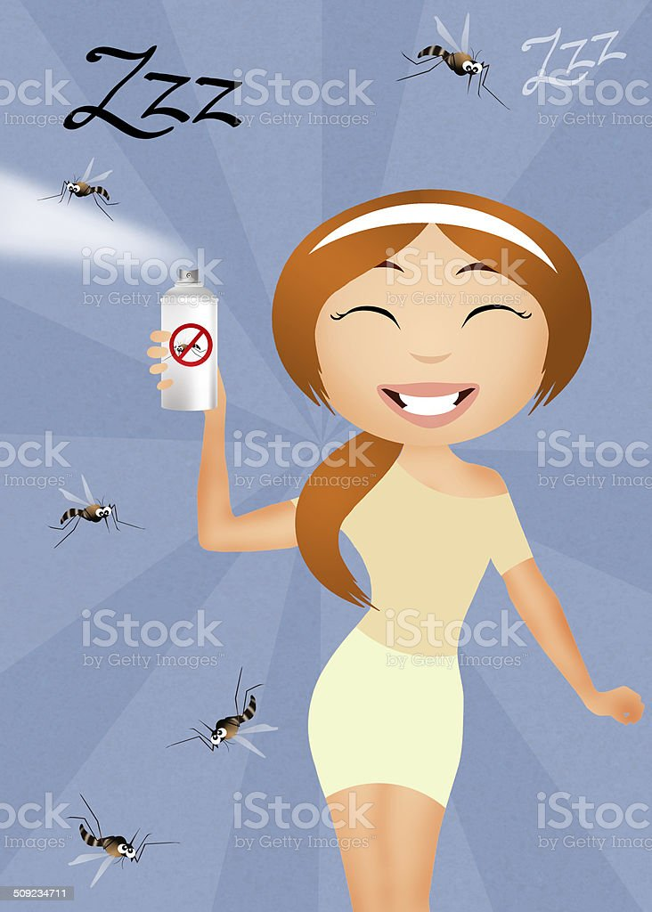 Mosquito spray vector art illustration