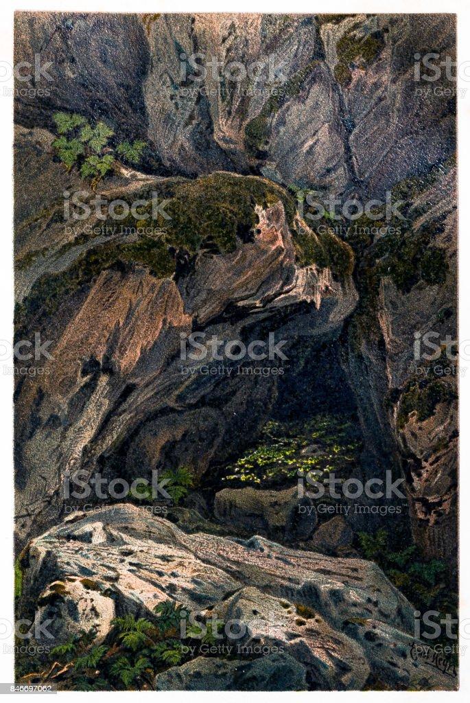 Rochas de musgo nas falésias da ardósia - ilustração de arte em vetor