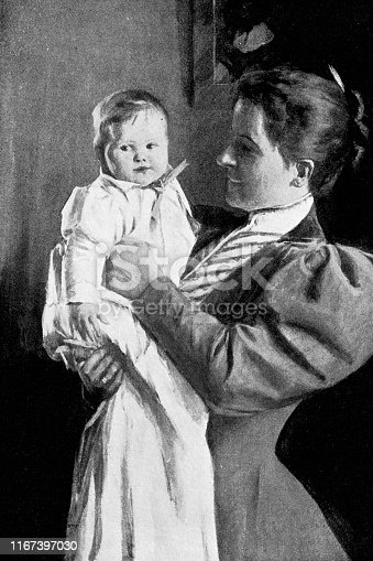 Portrait of a mother and her baby in Victorian fashion. Vintage etching circa late 19th century.