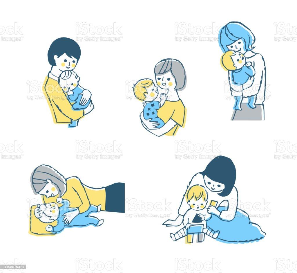 母と赤ちゃんのシーンセット - おしゃぶりのロイヤリティフリーストックイラストレーション