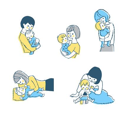 母と赤ちゃんのシーンセット - おしゃぶりのベクターアート素材や画像を多数ご用意