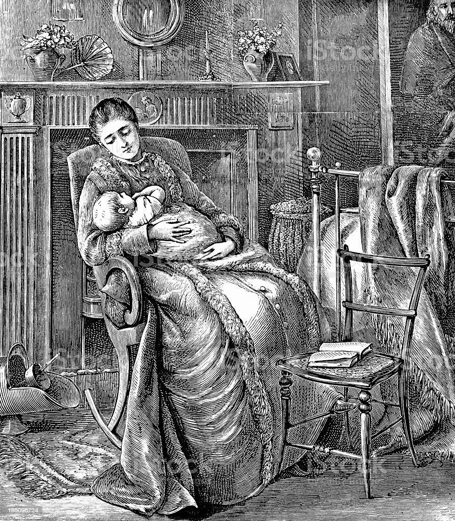 Mother and Baby - Victorian Illustration vector art illustration