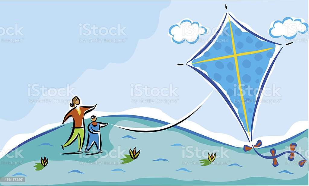 Mother and child flying a kite royalty-free stock vector art