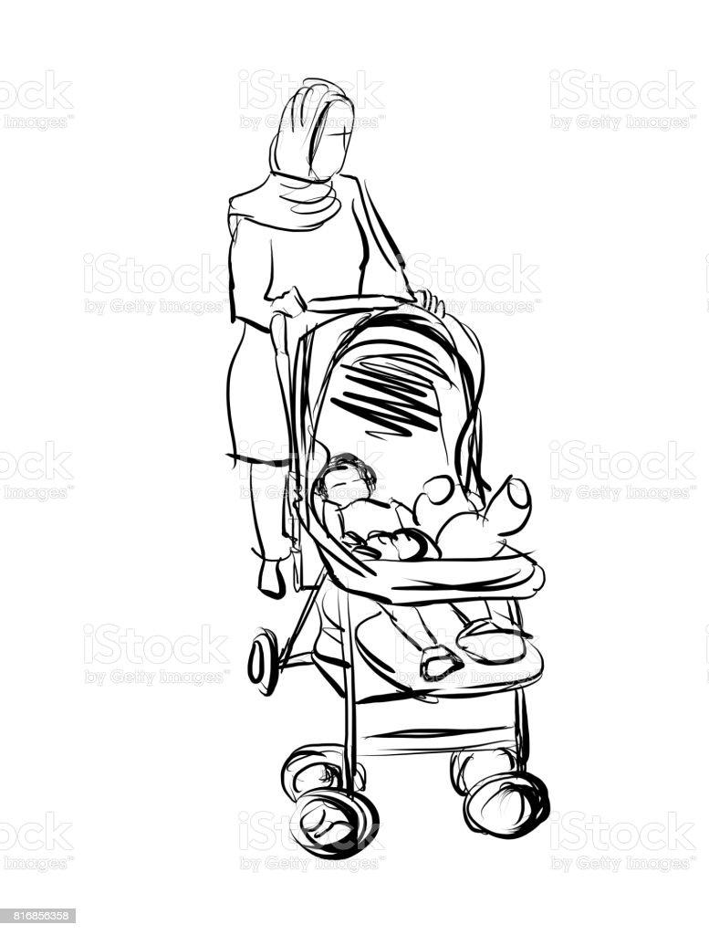 M re et enfant poussette esquisse de dessin anim stock - Poussette dessin ...