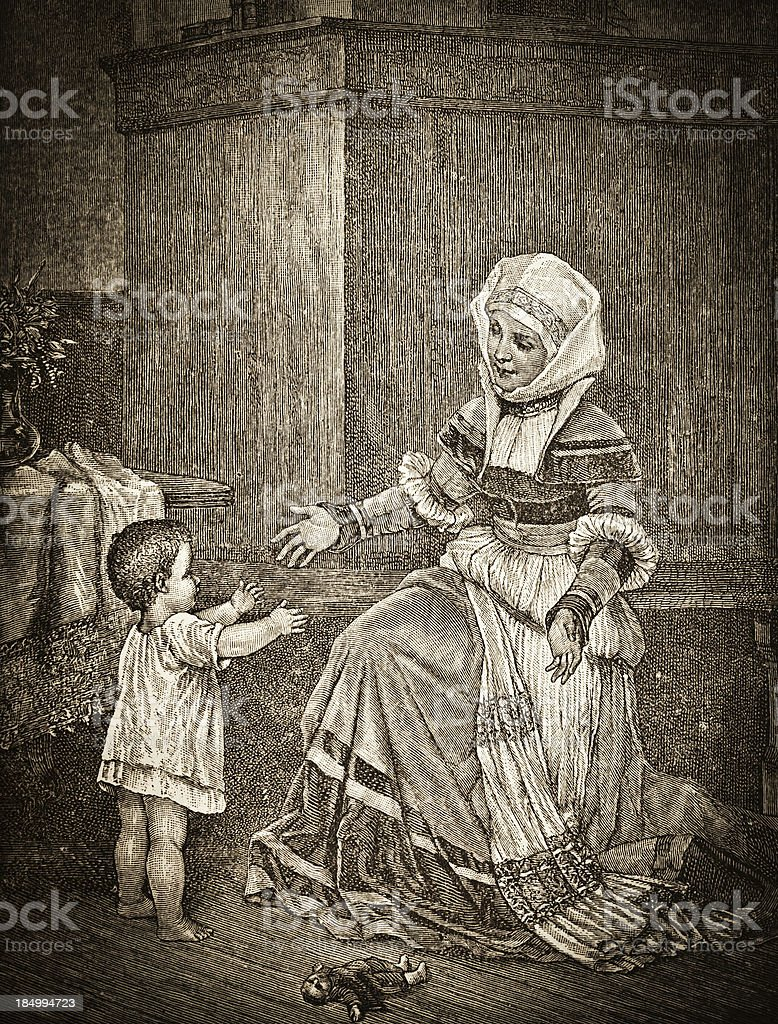 Mother and Child - Victorian Steel Engraving vector art illustration