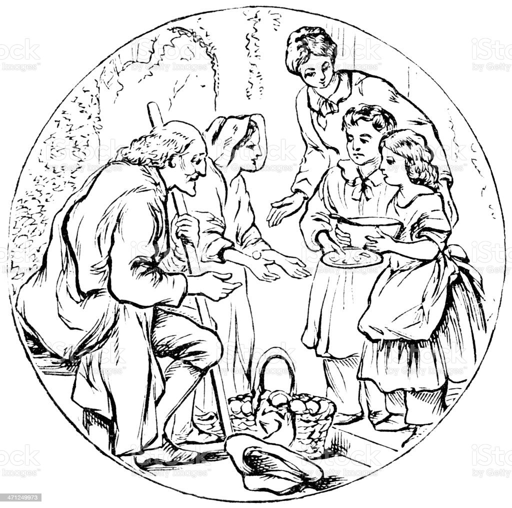 Mother and children bringing food to a poor couple royalty-free mother and children bringing food to a poor couple stock vector art & more images of a helping hand