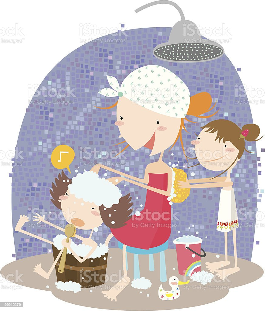 Mother and Children Scrubbing Backs in Shower - Royalty-free Adult stock vector