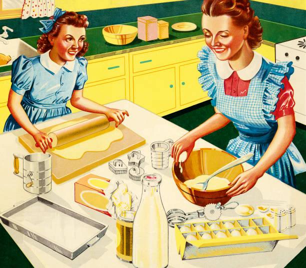 ilustrações de stock, clip art, desenhos animados e ícones de mother and daughter baking in kitchen - kitchen counter