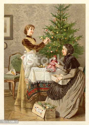 Mother and daughter decorating christmas tree Original edition from my own archives Source : Gartenlaube 1892 after Aquarell of R. Beyschlag Lith. Kunstanstalt von Max Seeger, Stuttgart