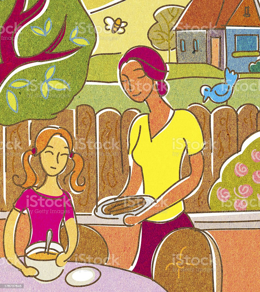 Mother and daughter having food outside vector art illustration