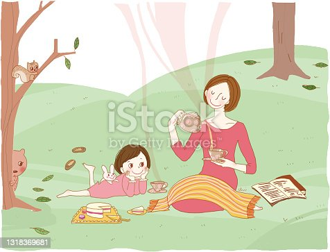 istock Mother and daughter having tea in the field. 1318369681