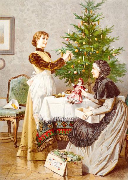 bildbanksillustrationer, clip art samt tecknat material och ikoner med mor och dotter förbereda granen - christmas gift family