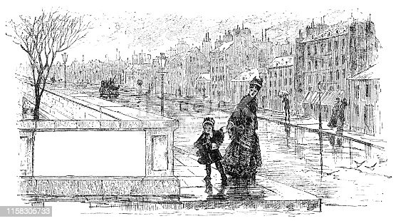 Mother and daughter walking hand in hand along the city street at wintertime (circa 19th century). Vintage etching circa late 19th century.