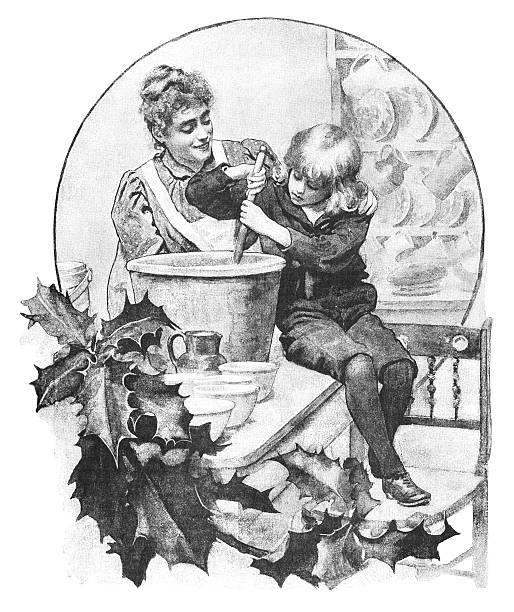 ilustrações de stock, clip art, desenhos animados e ícones de mãe e filho mexer a mistura de pudim de natal - christmas cooking