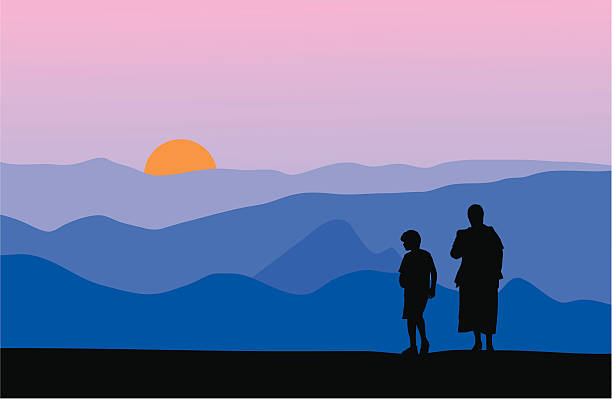 Mother and son watching sunset in the mountains vector art illustration