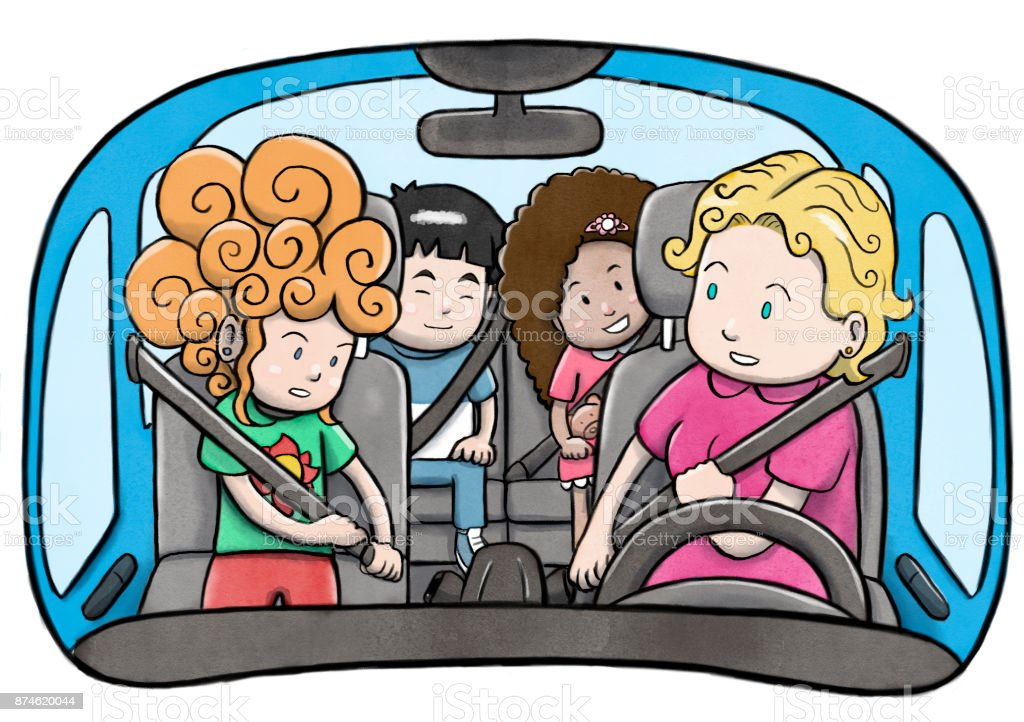 Mother and three children in a car using safety belts and preparing to drive vector art illustration
