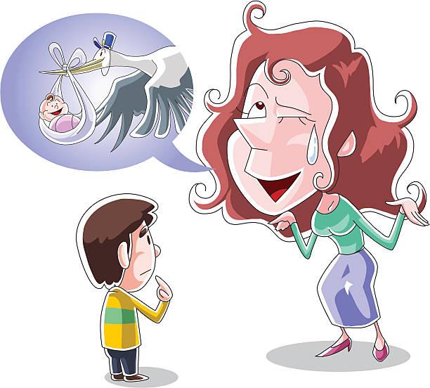 Mother explains how babies are delivered vector art illustration