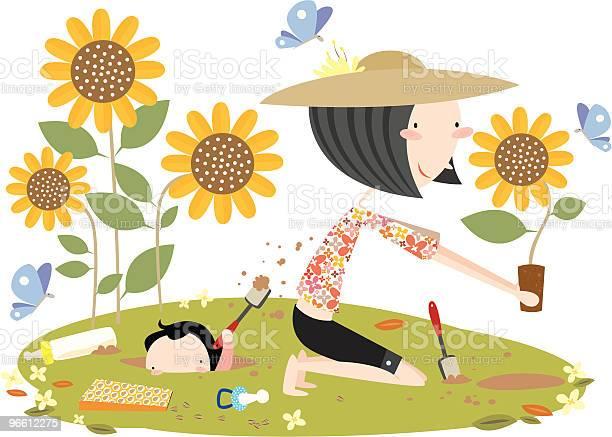 Mother Gardening With Son Digging Hole-vektorgrafik och fler bilder på Barn