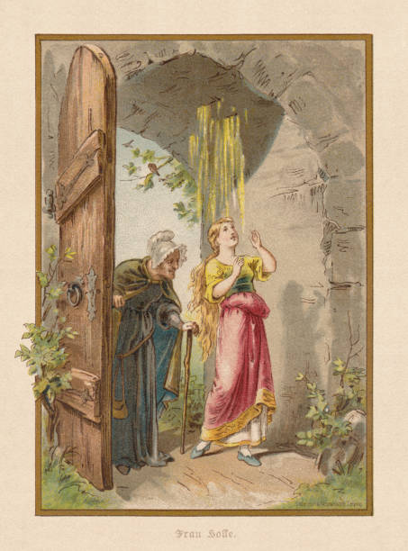 Mother Hulda (Frau Holle), by Brothers Grimm, chromolithograph, published 1898 Mother Hulda (German: Frau Holle). A German fairy tale, written down by Jacob and Wilhelm Grimm. Chromolithograph after a drawing by Thekla Brauer, published in 1898. frau stock illustrations